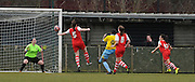 Rochelle Shakes loops in her first of the afternoon during the Women's FA Cup match between Charlton Athletic WFC and Crystal Palace LFC at Sporting Club Thamesmead, Thamesmead, United Kingdom on 8 March 2015. Photo by Michael Hulf.