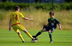 WREXHAM, WALES - Monday, July 22, 2019: Ethan Hartness of South (L) and Jake Roberts of North (R) during the Welsh Football Trust Cymru Cup 2019 at Colliers Park. (Pic by Paul Greenwood/Propaganda)