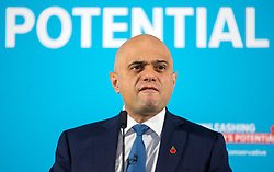 © Licensed to London News Pictures. 07/11/2019. Altrincham UK. Chancellor of the Exchequer Sajid Javid makes his speech at the Runway Visitor Centre at Manchester Airport this morning as part of the General Election Campaign. Photo credit: Andrew McCaren/LNP