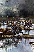 French lst Infantry Corps crossing of the Yser Canal, 31 July 1917, 4.45 am  After painting by Francois Flameng (1856-1923) French.