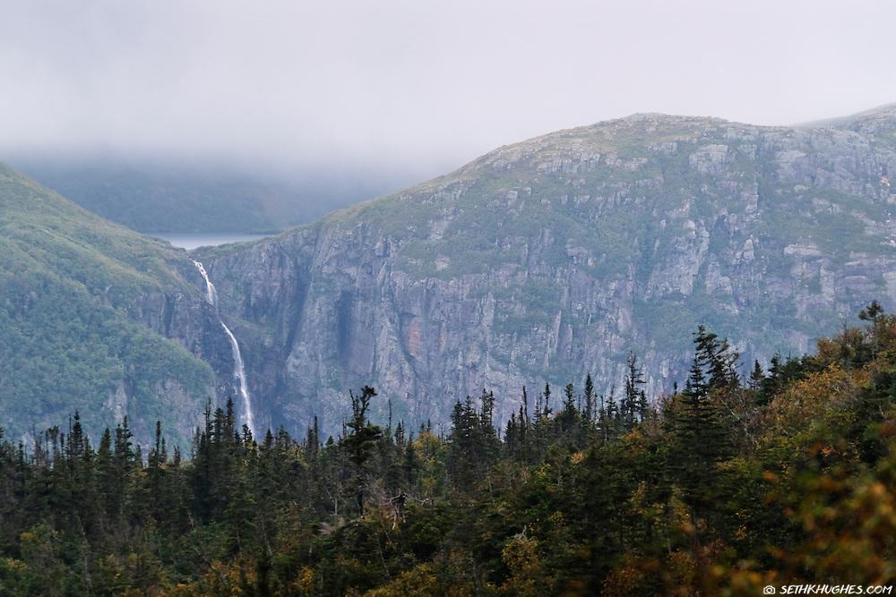 A waterfall scene in Gros Morne National Park, Newfoundland, Canada.