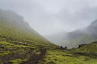 Hiking in Syðra Fjallabak, Interior of Iceland.