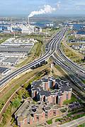 Nederland, Noord-Holland, Amsterdam, 09-04-2014; Westpoort,  Westrandweg A5 (li) en ringweg A10 (A10 West of Einsteinweg) richting Coentunnel. Centrale Hemweg<br /> Ringroad A10, Amsterdam West.<br /> luchtfoto (toeslag op standard tarieven);<br /> aerial photo (additional fee required);<br /> copyright foto/photo Siebe Swart