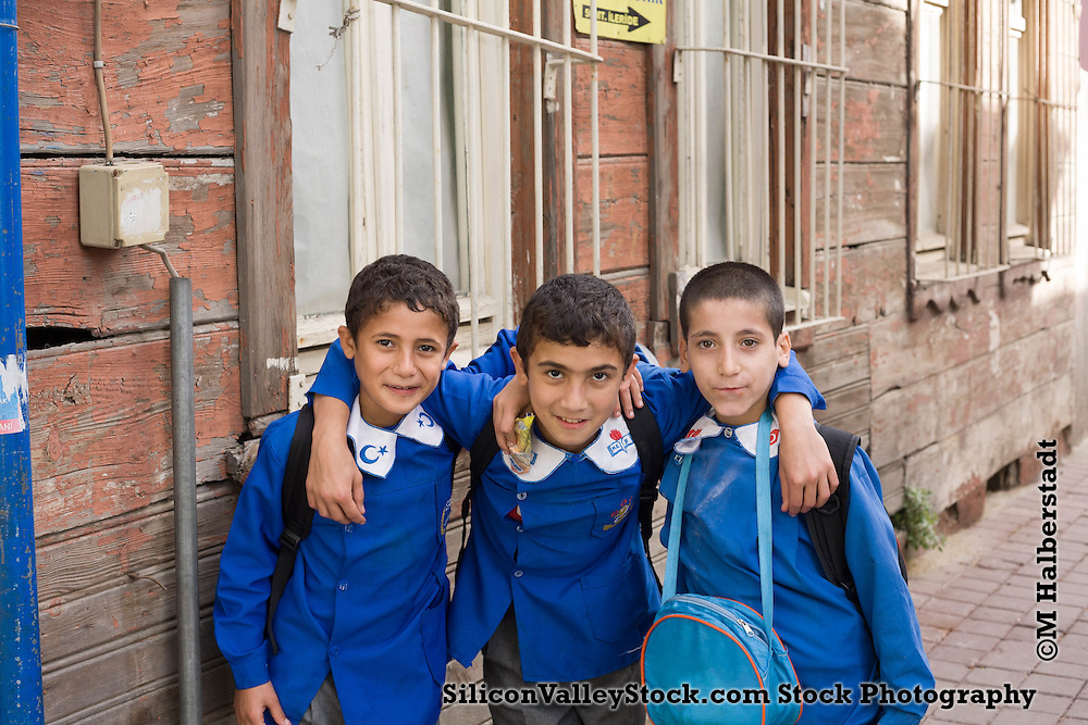 School Mates Pose for Photo in Istanbul Old Town