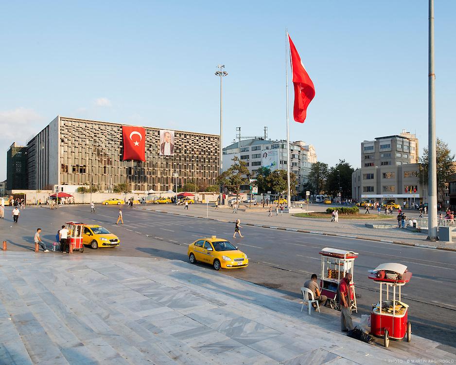 Istanbul, Turkey, 2013. Taksim square.<br /> Atat&uuml;rk K&uuml;lt&uuml;r Merkezi, (Centre Culturel Atat&uuml;rk), appel&eacute; aussi AKM.