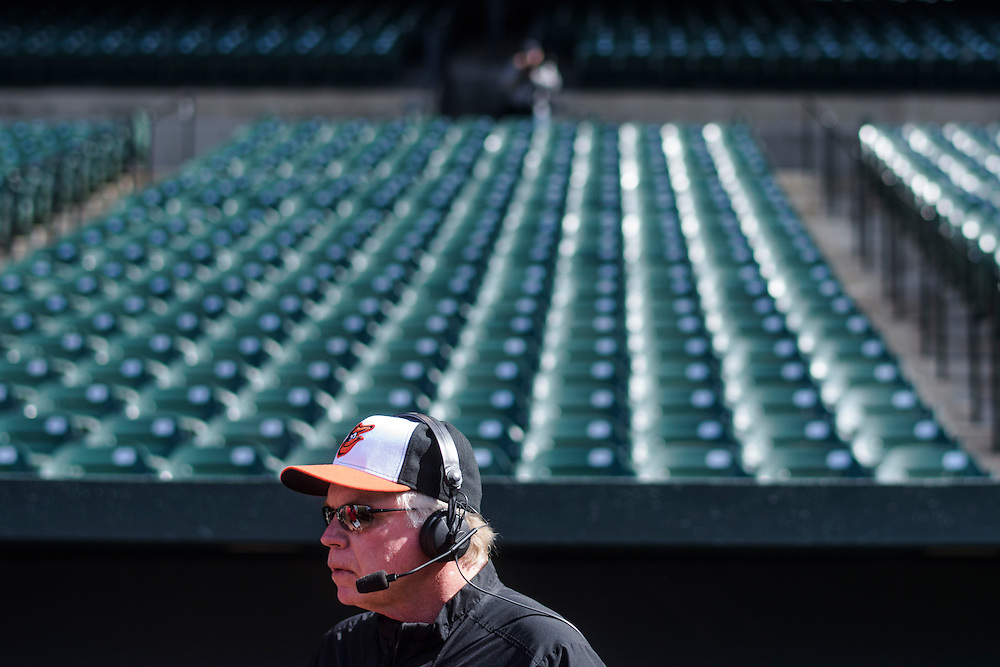 Baltimore, MD - April 29, 2015: Orioles manager Buck Showalter is interviewed after the Orioles' 8-2 home win over the White Sox to an empty Oriole Park at Camden Yards on April 29, 2015. The civil unrest in Baltimore has forced the game between the Chicago White Sox and Baltimore Orioles to be closed to the public and moved to the afternoon. (Matt Roth for ESPN)