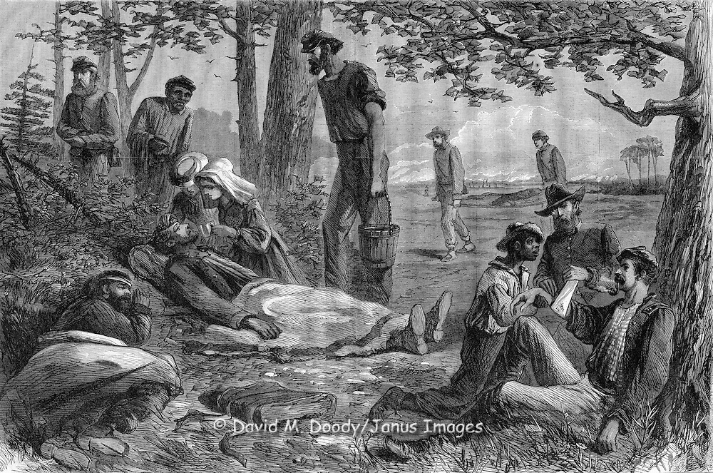 The Christian Commission in the field, tending to the wounded. Civil War. Harper's Weekly, 1864.