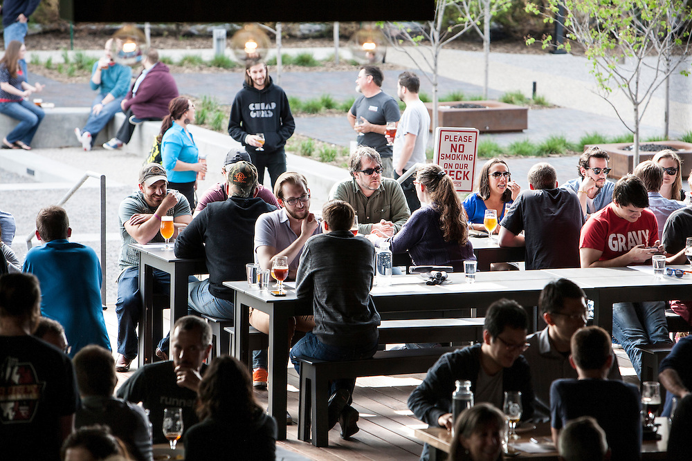 When the weather accommodates, the beer hall opens up onto a garden and patio area at Surly Brewing Co. in Minneapolis, MN, May 15, 2015.