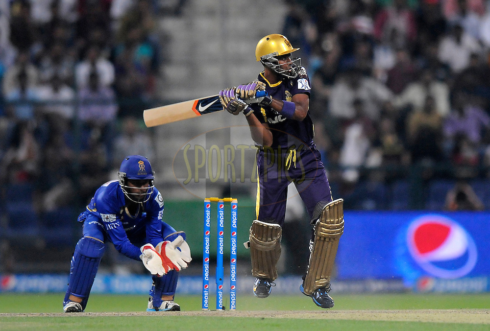 Suryakumar Yadav of the Kolkata Knight Riders bats during match 19 of the Pepsi Indian Premier League 2014 Season between The Kolkata Knight Riders and the Rajasthan Royals held at the Sheikh Zayed Stadium, Abu Dhabi, United Arab Emirates on the 29th April 2014<br /> <br /> Photo by Pal Pillai / IPL / SPORTZPICS