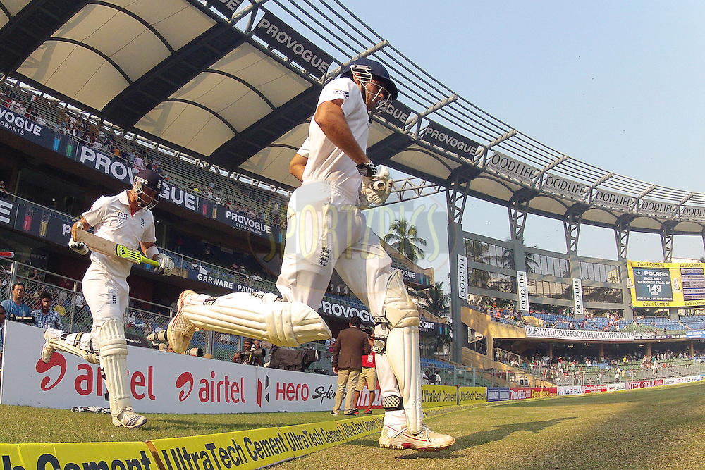 Alastair Cook - Captain of England and Kevin Pietersen of England enter the field  of play at the start during day 3 of the 2nd Airtel Test match between India and England held at the Wankhede Stadium in Mumbai, India on the 25th November 2012...Photo by Ron Gaunt/ BCCI/ SPORTZPICS..Use of this image is subject to the terms and conditions as outlined by the BCCI. These terms can be found by following this link:..http://www.sportzpics.co.za/image/I0000SoRagM2cIEc