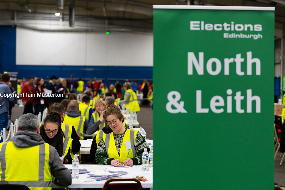 Edinburgh, Scotland, UK. 12th December 2019. Ballot papers cast for Ian Murray Labour candidate for Edinburgh South at Parliamentary General Election Count at the Royal Highland Centre in Edinburgh. Iain Masterton/Alamy Live News