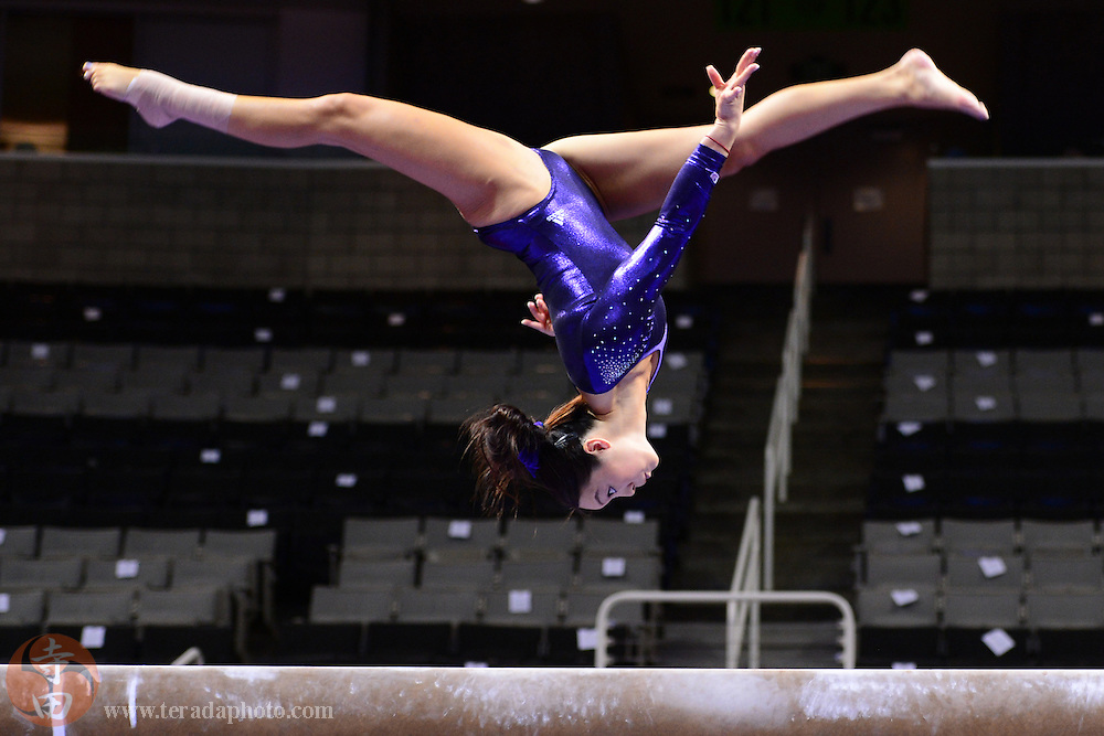 June 29, 2012; San Jose, CA, USA; Anna Li warms up on the balance beam during the 2012 USA Gymnastics Olympic Team Trials at HP Pavilion.
