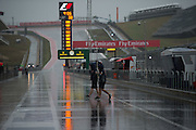 October 23-25, 2015: United States GP 2015: Rain on the pitlane on Saturday morning.