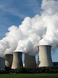 Cooling towers at Neurath brown coal fired power station in North Rhine Westphalia in Germany