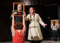 Ed (Taylor Gagne) and a Museum-goer (Jessica McDermott) discuss a portrait of Dega during dress rehearsal for Degas, C'est Moi in preparation of the NHETG Drama Festival at Laconia High School on Saturday.   (Karen Bobotas/for the Laconia Daily Sun)