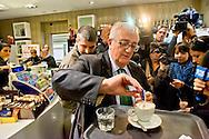 Roma 14 Novembre 2014<br /> Mario Borghezio, europarlamentare della Lega Nord, in visita a Tor Sapienza in seguito alle proteste degli abitanti  contro il centro di accoglienza per rifugiati di Via Giorgio Morandi. Borghezio non è andato, però, al centro ma ha incontrato la  stampa in un bar distante dal centro di accoglienza.<br /> Rome November 14, 2014<br /> Mario Borghezio, MEP of the Lega Nord, on a visit to Tor Sapienza following the protests of the people against the reception center for refugees to Via Giorgio Morandi. Borghezio did not go, however, in the center but faced the media at a bar far from the reception center for refugees.