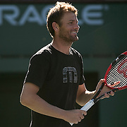 March 6, 2015, Indian Wells, California:<br /> Mardy Fish smiles during a practice session at the Indian Wells Tennis Garden in Indian Wells, California Friday, March 6, 2015.<br /> (Photo by Billie Weiss/BNP Paribas Open)