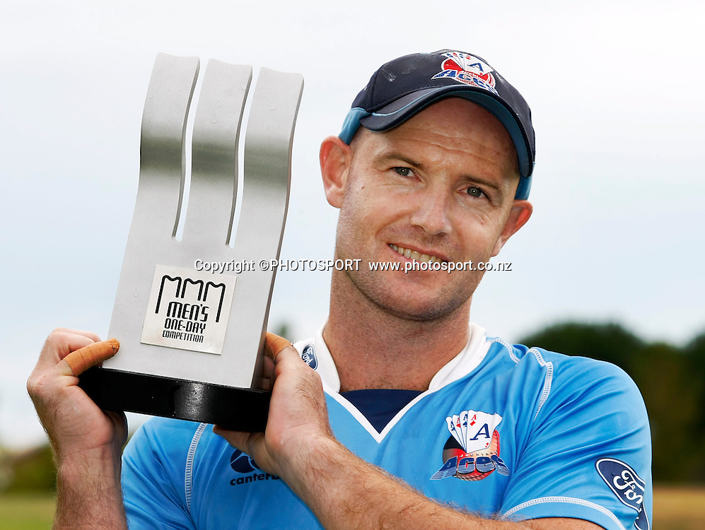 Auckland Aces captain Gareth Hopkins with the men's one day competition trophy. Canterbury Wizards v Auckland Aces in the One Day Competition Final. QEII Park, Christchurch, New Zealand. Sunday, 13 February 2011. Joseph Johnson / PHOTOSPORT.