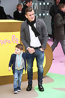 Jack Wilshere & Archie, Peppa Pig: The Golden Boots - UK Film Premiere, Odeon Leicester Square, London UK, 01 February 2015, Photo By Brett D. Cove