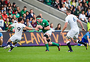 Ireland second-row Sean O'Connor cuts inside England scrum-half Max Green during the World Rugby U20 Championship Final   match England U20 -V- Ireland U20 at The AJ Bell Stadium, Salford, Greater Manchester, England onSaturday, June 25, 2016. (Steve Flynn/Image of Sport)