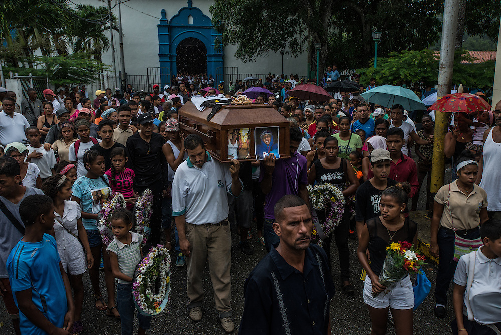 CAPAYA, VENEZUELA - NOVEMBER 29, 2016:  The town of Capaya held a funeral procession and group memorial for Eliecer Ram&iacute;rez, <br />