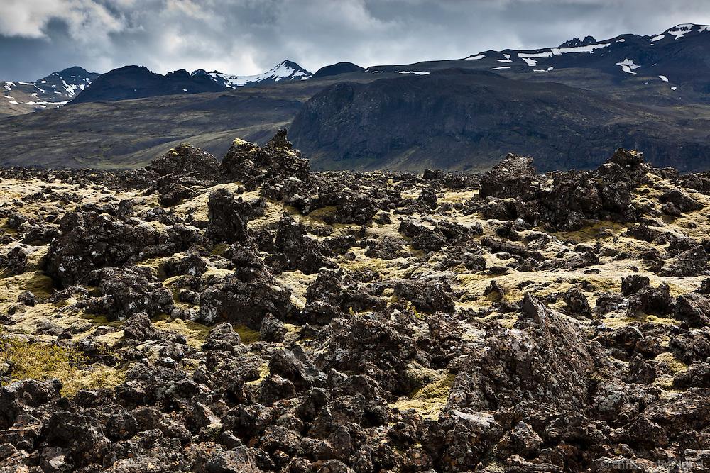 Lava in Hítardalur Valley, West Iceland. Hraun í Hítardal.