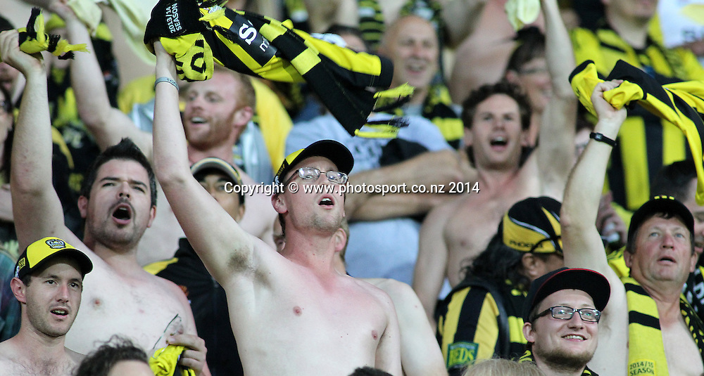 Phoenix fans in full voice during the A-League football match between the Wellington Phoenix & Western Sydney Wanderers at Westpac Stadium, Wellington, 28 December 2014. Photo.: Grant Down / www.photosport.co.nz