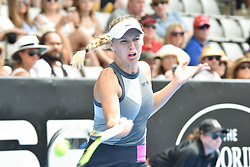 January 7, 2018 - Auckland, Auckland, New Zealand - Caroline Wozniacki of Denmark plays a forehand in her final match against Julia Goerges of German during the WTA Women's Tournament at ASB Centre Count in Auckland, New Zealand on Jan 7, 2018. (Credit Image: © Shirley Kwok/Pacific Press via ZUMA Wire)