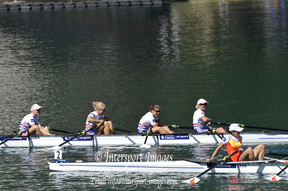 Bled, SLOVENIA.  GBR LW4X, Bow Stephanie CULLEN,  Imogen WALSH, Kathryn TWYMAN and Andrea Dennis. 2011 FISA World Rowing Championships, Lake Bled. Local Time 12:23:49   Saturday  03/09/2011  [Mandatory Credit;  Intersport Images]  Original Camera File No.   2011011566.jpg