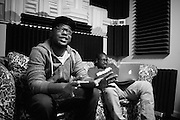 St. Louis rapper Rockwell Knuckles at R&R Music Labs laying down his vocals for his contribution to STL Loud 3.