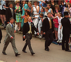 Prince Edward (centre) and his brothers the Prince of Wales (left) and the Duke of York, walks through Windsor Castle to St George's Chapel where he is to marry Sophie Rhys-Jones on Saturday June 19, 1999. The royal couple, who met in 1993 in London at a charity real tennis match that the Prince had organised, were marrying in St George's Chapel in Windsor Castle. Buckingham Palace announced before the wedding that the Royal couple will in future be known as the Earl and Countess of Wessex. By tradition, Royal grooms have two supporters, rather than one best man.<br /> Anwar Hussein/allactiondigital.com