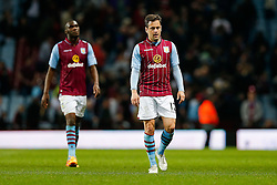 Joe Cole of Aston Villa looks dejected after the match ends in a 3-3 draw - Photo mandatory by-line: Rogan Thomson/JMP - 07966 386802 - 07/04/2015 - SPORT - FOOTBALL - Birmingham, England - Villa Park - Aston Villa v Queens Park Rangers - Barclays Premier League.