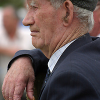 Bernard Mannion watches the pony competitions at the Spancilhill Horse Fair on Friday.<br />