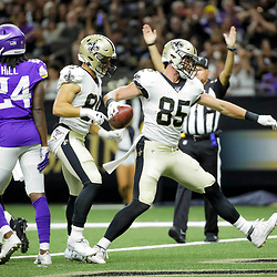 Aug 9, 2019; New Orleans, LA, USA; New Orleans Saints tight end Dan Arnold (85) spikes the ball after a touchdown against the Minnesota Vikings during the second quarter at the Mercedes-Benz Superdome. Mandatory Credit: Derick E. Hingle-USA TODAY Sports