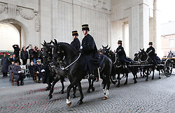 The Duke of Edinburgh and Prince Laurent of Belgium  at the Menin Gate in Ypres, Belgium, at a ceremony on Armistice Day to mark the gathering of soil for the Flanders Fields Memorial Garden at the Guards Museum in London, Monday, 11th November 2013. Picture by Stephen Lock / i-Images