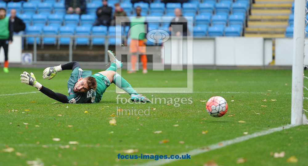 Russell Griffiths of FC Halifax pushes a shot around the post during the FA Cup match at Shay Stadium, Halifax<br /> Picture by Richard Land/Focus Images Ltd +44 7713 507003<br /> 08/11/2015
