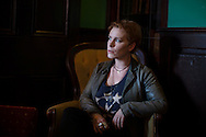 Author Tana French poses for a portrait at the Library bar in Dublin Tuesday Aug, 21, 2012. She is the author of In the Woods, The Likeness, Faithful Place and Broken Harbor. Her books have won Edgar, Anthony, Macavity, Barry and ICVA Clarion awards and have been finalists for LA Times and Strand Magazine awards. (Photo/Elizabeth Dalziel)