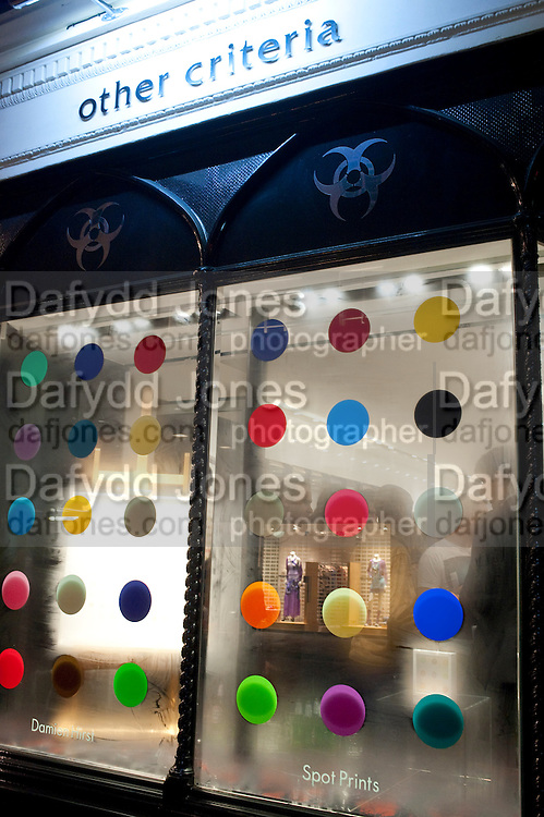 The launch of Damien Hirst Spot prints. Other Criteria. New Bond St. London. 10 January 2012.