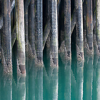 It's back to clouds and some rain in Juneau. As I headed back downtown and noticed the view of the pilings under the pier. Using a long lens I isolated a subset of pilings and worked to catch the reflection in Gastineau Channel. The tide was at a normal level allowing some of the growth to show just above the water level at this time today.