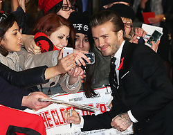 David Beckham with fans as he arrives at the The Class of 92 premiere in London, Sunday, 1st December 2013. <br /> Picture by Stephen Lock / i-Images