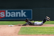 Juan Pierre #9 of the Miami Marlins slides safely into 2nd base for a double against the Minnesota Twins in Game 1 of a split doubleheader on April 23, 2013 at Target Field in Minneapolis, Minnesota.  The Twins defeated the Marlins 4 to 3.  Photo: Ben Krause