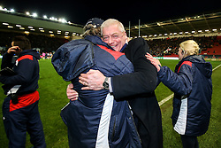 CEO Steve Gorvett and Forwards Coach Mark Bakewell celebrate after Bristol Rugby win 28-20 - Rogan Thomson/JMP - 26/12/2016 - RUGBY UNION - Ashton Gate Stadium - Bristol, England - Bristol Rugby v Worcester Warriors - Aviva Premiership Boxing Day Clash.