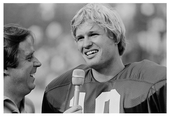 Ken Naber being interviewed by Ron Barr following the Stanford - UCLA game at Stanford Stadium in October 1979.<br /> <br /> &copy; 1979 David Madison