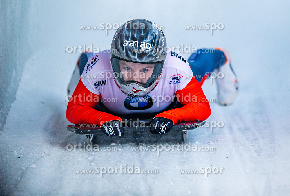 17.01.2020, Olympia Eiskanal, Innsbruck, AUT, BMW IBSF Weltcup Bob und Skeleton, Igls, Skeleton, Damen, 2. Lauf, im Bild Marina Gilardoni (SUI) // Marina Gilardoni of Switzerland reacts after her 2nd run of women's Skeleton competition of BMW IBSF World Cup at the Olympia Eiskanal in Innsbruck, Austria on 2020/01/17. EXPA Pictures © 2020, PhotoCredit: EXPA/ Stefan Adelsberger