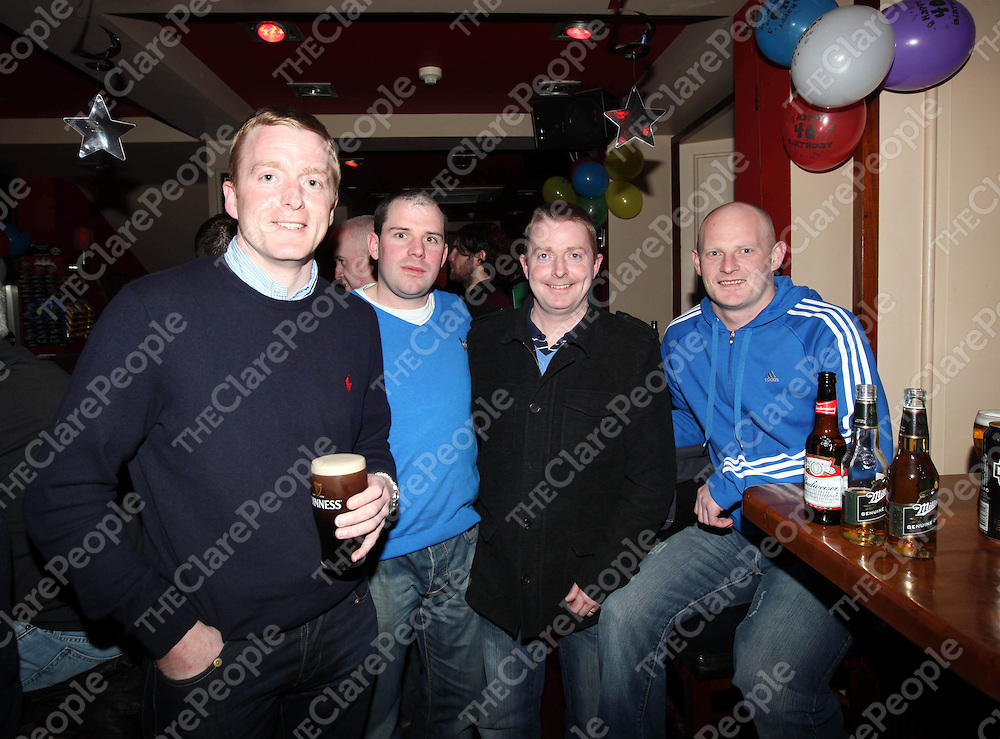 Cormac O'Sullivan, Vinny Sheedy, Diamruid O'Sullivan and Colm Mullins at Muiris O'Sullivans surprise 40th birthday at the Brewery Bar, Ennis .<br /> . Pic: Sean Curtin Press 22.