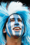 An Argentina fan before the 2014 FIFA World Cup match at Arena Corinthians, Sao Paulo<br /> Picture by Andrew Tobin/Focus Images Ltd +44 7710 761829<br /> 09/07/2014