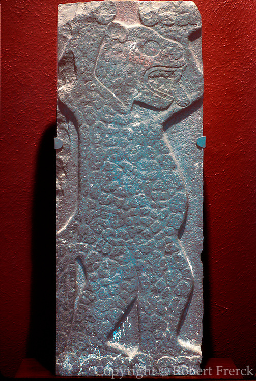 MEXICO, MEXICO CITY, MUSEUM Toltec; relief of a dancing jaguar