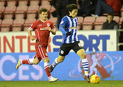 Wigan Athletic's Bo-Kyung Kim surges forward - Photo mandatory by-line: Richard Martin-Roberts/JMP - Mobile: 07966 386802 - 24/02/2015 - SPORT - Football - Wigan - DW Stadium - Wigan Athletic v Cardiff City - Sky Bet Championship