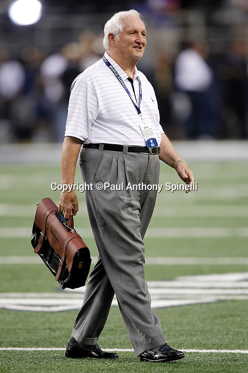 Former Dallas Cowboys General Manager Gil Brandt walks the field during pregame warmups at the NFL week 7 football game against the New York Giants on Monday, October 25, 2010 in Arlington, Texas. The Giants won the game 41-35. (©Paul Anthony Spinelli)