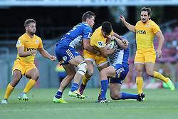Pablo Matera of the Jaguares is caught in the tackle during the Super Rugby match between DHL Stormers and Jaguares held at DHL Newlands in Cape Town, South Africa on the 4th March 2017.<br /> <br /> Photo by Ron Gaunt/Villar Press
